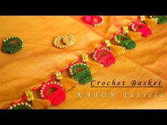 DIY: Mini Crochet Basket with Golden Beads. Learn how to make this beautiful crochet design step by step for your saree. Difficulty level for this design is . Saree Kuchu New Designs, Saree Tassels Designs, Silk Saree Blouse Designs, Fancy Blouse Designs, Crochet Edging Patterns, Crochet Lace Edging, Crochet Designs, New Embroidery Designs, Hand Embroidery Videos