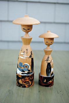 vintage kokeshi dolls.