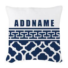 Navy Quatre Geek Personalized Woven Throw Pillow on CafePress.com