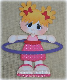 Hula Hoop girl Premade Scrapbooking Embellishment by MyCraftopia, $5.95