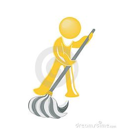 Janitor icon in yellow with mop. vector