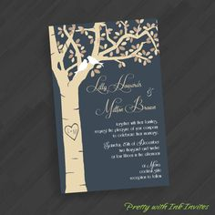 Carved Birch Tree with Lovebirds Invitations for Wedding/Engagement/Shower/Anniversary/Your Special Event (Shown in Slate Blue/Toffee Tans) on Etsy, $22.65 AUD
