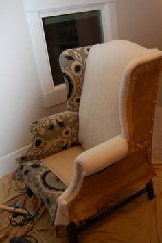 praying for sunshine: How to reupholster a wingback chair