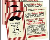 Mustache Birthday Party Invitation - any age