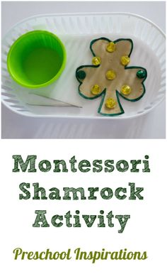 Fine motor practice for St. Patrick's Day. Montessori Shamrock Activity by Preschool Inspirations
