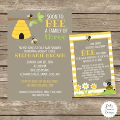 Bumble Bee Themed Baby Shower Invitation and Book Request Insert - By Emily Frances Designs
