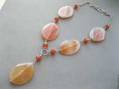 Купить Крупные бусы с натуральными камнями, сердолик. - рыжий, авторские украшения, украшение на шею