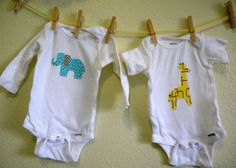 DIY appliqued onesies for baby. The elephant is my favorite. Super easy and inexpensive to make.