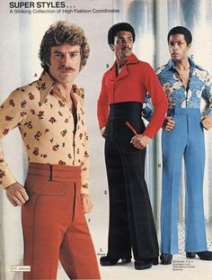Straight from men's fashion magazine ads and groovy catalogs like JC Penny and Flagg Bros., these men's fashions are far out! Add these groovy threads to y Moda Disco, 70s Outfits, Vintage Outfits, Fashion Outfits, Grunge Outfits, Retro Mode, Mode Vintage, Style 70s, Vintage Clothing