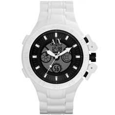 Armani Exchange AX1195 Men s Black Ana-Digi Dial White Rubber Strap  Chronograph Men And Women 9b4b917835de