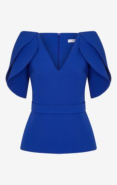 Lotus Top– Safiyaa Formal Tops, Sleeves Designs For Dresses, Stylish Tops, Classy Dress, Work Attire, African Fashion, Blouse Designs, Blouses For Women, Casual Outfits