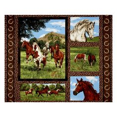 "Run Free Horse Panel Multi from @fabricdotcom From Fabri-Quilt, this nature inspired cotton print fabric is perfect for quilting, apparel and home decor accents. Colors include black, shades of brown, shades of green, cream, white and blue. This panel measures 44"" x 35""."