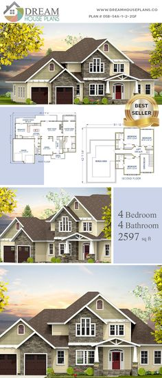 house plan with . - House Plans, Home Plan Designs, Floor Plans and Blueprints Open Floor House Plans, Porch House Plans, 4 Bedroom House Plans, Floor Plans, Southern House Plans, Southern Homes, Luxury House Plans, Dream House Plans, Custom Home Plans
