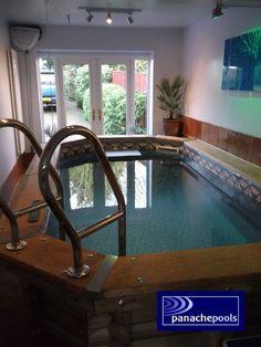 Exercise pool in garage Endless Swimming Pool, Swimming Pools, Outdoor Pool, Indoor Outdoor, Hot Tubs, Porch Ideas, Pool Designs, Garage, Spa