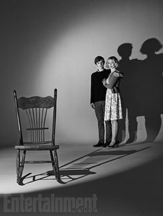 "Freddie Highmore and Vera Farmiga from ""Bates Motel"" do a b/w homage to ""Psycho""."