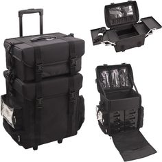 The 2-in-1 Black Nylon Trolley Makeup Case is a sturdy, spacious and cleverly designed case for optimal storage.