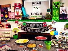 Dessert table at a video games birthday party! See more party planning ideas at CatchMyParty.com!
