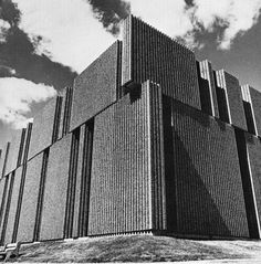 Laboratoires Merck-Sharp et Dohme, in Kirkland, Quebec, Canada, designed by Désautels Architecte in the Brutalist style