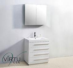 """30"""" Virtu Bailey JS-50530-GW Single Sink Bathroom Vanity - Gloss White  #Virtu #HomeRemodel #BathroomRemodel #BlondyBathHome #BathroomVanity"""