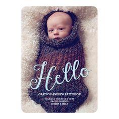 Hello Baby Boy Modern Birth Announcement Photocard Invitation Card