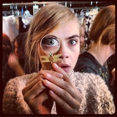 Cara Delevingne with magnifying glass - Celebrity Twitter Pictures