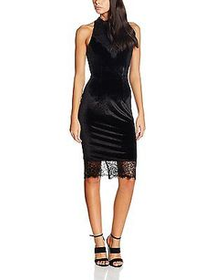 14, Black, Wolf & Whistle Women's Velvet & Lace Midi Dress NEW