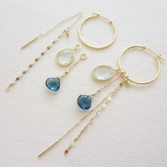 pierced earrings with blue stone charms #tocca #japan