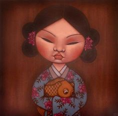 Paintings by Poh Ling Yeow, a Malaysian-born Australian artist, actress and runner-up in MasterChef Australia. Masterchef Australia, Street Mural, Mural Art, Murals, Beautiful Fish, My Canvas, Australian Artists, Big Eyes, Goldfish