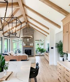 """Vivir Design shared a post on Instagram: """"Happy Saturday!! Let's kick the weekend off with this beautiful space by @sucasadesign, that ticks…"""" • Follow their account to see 2,312 posts. Dream Home Design, My Dream Home, Home Interior Design, Modern Interior, Timber Beams, Timber Ceiling, Timber Wood, Home Living Room, Vaulted Living Rooms"""