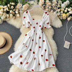 Cheap Dresses, Casual Dresses, Short Dresses, Fashion Dresses, Strawberry Dress, Cherry Dress, Pretty Outfits, Pretty Dresses, Cute Outfits
