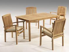 Comedor Teka exteriores - Mesa + 4 sillas con cojines.