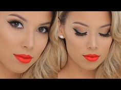 Classic Glamour + Hot Orange lips | Smashbox Tutorial - YouTube