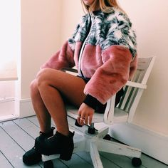 Faux fur coat, pink and grey?     // Pinned on @benitathediva, DIY Fashion Inspiration.
