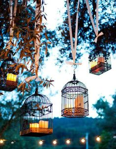 Rustic Wedding- Candles in old bird cages for dusk atmosphere … Budget wedding ideas. The Gold Wedding Planner iPhone App