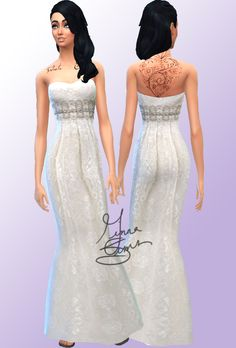Lace Gown at Ginna Sims via Sims 4 Updates