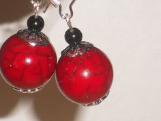 Round bead earrings Red Earrings Red Bead earrings by mcutecharms, $12.00