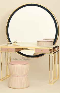 "La Perla x Walter Terruso ""Mia"" vanity table, debuted at the Milan Furniture fair in April so sleek, so perfect, but a backed chair would be even better. Rustic Bedroom Furniture, Modern Furniture, Furniture Design, Bedroom Decor, Milan Furniture, Mirror Bedroom, Bathroom Furniture, Bathroom Interior, Corner Dressing Table"