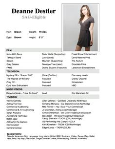 free acting resume samples and examples ace your audition. actor ...