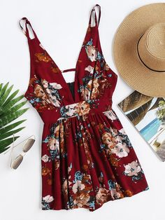 Burgundy V-Neckline Sleeveless Floral Print Backless Romper