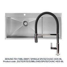 ZENUNO 70 I-F BBL – DEEP Single Bowl with Drainer with SPIRALE Chrome Tap with Black Hose