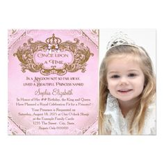 419 best 2nd birthday party invitations images on pinterest 2nd once upon a time princess photo birthday party invitation filmwisefo