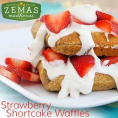 Strawberry Shortcake Waffles.  gluten-free, dairy-free, egg-free, soy-free, fish-free, shellfish-free, nut-free, peanut-free