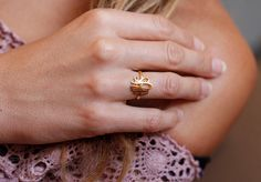 Gold Monogram Ring Gold Initial Ring Gold Letter Ring by capucinne