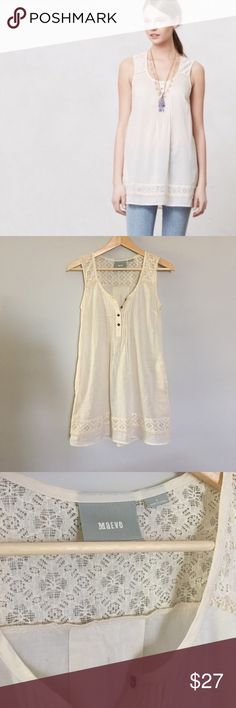 NWOT Anthropologie Maeve Lacepath Tunic Tank Top This is a reposh - it is just a little too small for me, but I love it so much! Beautiful cotton cream tank top with pockets, eyelet detail and buttons up the front. Asking what I paid. Like new. Anthropologie Tops Tank Tops