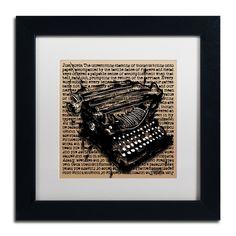 Roderick Stevens 'Three-Quarter Typewriter' White Matte, Framed Wall Art