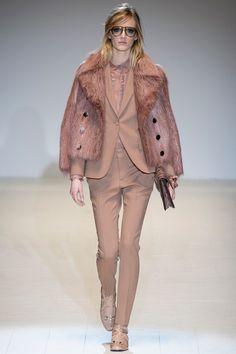 Gucci F/W 2014, fur coat, blazer, loafers, blouse
