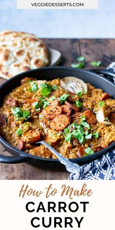 This easy Carrot Curry recipe combines carrots, lentils, coconut milk and warming curry spices to make an Indian dish that can be served over rice, with naan or plain by itself. Ready in just 25 minutes. Vegan and gluten-free.#carrotcurry #easycarrotcurry #currywithcarrots #curriedcarrots #vegancurry #lentilcurry Easy Vegetarian Dinner, Veggie Dinner, Dinner Recipes Easy Quick, Vegetarian Recipes Easy, Curry Recipes, Side Dish Recipes, Vegetarian Dish, Veggie Recipes, Carrot Curry