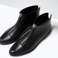 ZARA - COLLECTION SS15 - ZIPPED LEATHER BOOTIES