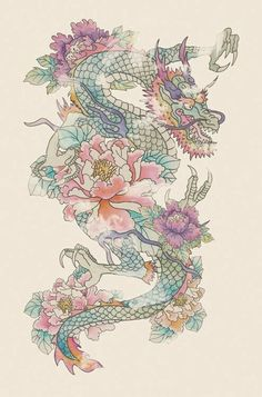 tattoo sketch - Dragon tattoo sketch – – -Dragon tattoo sketch - Dragon tattoo sketch – – - Unique Tattoo Drawings Ideas For Your Inspiration Wild Sakura Dragon Stickers by The-SixthLeafClover Peony and dragon illustration - tattoo flash 시월 Trendy Tattoos, Love Tattoos, Beautiful Tattoos, Body Art Tattoos, New Tattoos, Tatoos, Wing Tattoos, Arabic Tattoos, Celtic Tattoos