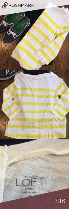 Yellow & white striped Loft shirt This cheerful yellow striped boat neck tee is preppy at its best.  With buttons up the back, this is no ordinary long sleeve tee.  Only worn once - in like new condition!  Size SP from Ann Taylor Loft. LOFT Tops Tees - Long Sleeve